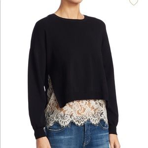 Alice and Olivia Iva Long Sleeve Lace  Sweater